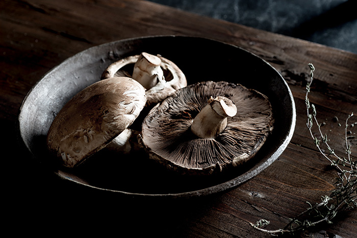 Raw Portobello Mushrooms Food Stock Photo