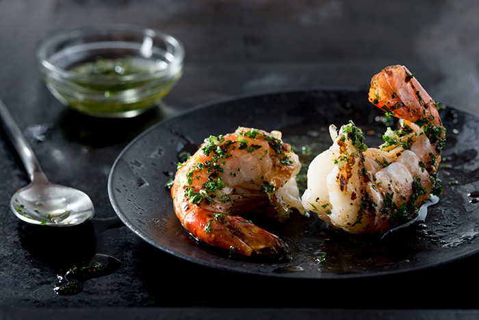 Grilled Shrimp with Herb Garlic Oil Food Stock Photo