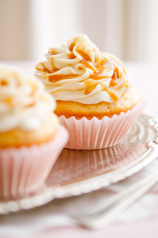 Caramel Cupcakes Food Stock Photo
