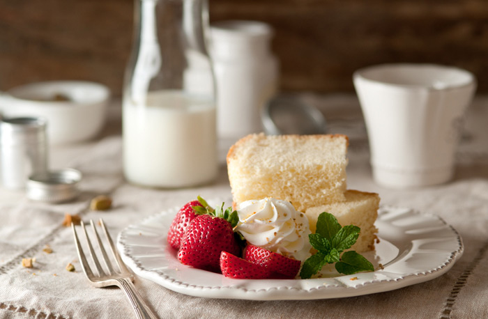 Strawberry Shortcake with Whipped Cream Food Stock Photo