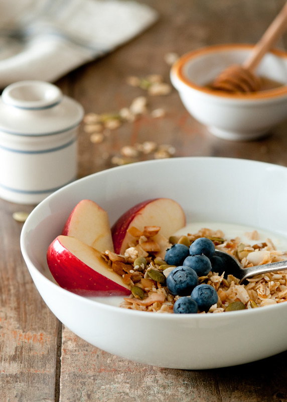 Yogurt with Granola and Fruit Food Stock Photo