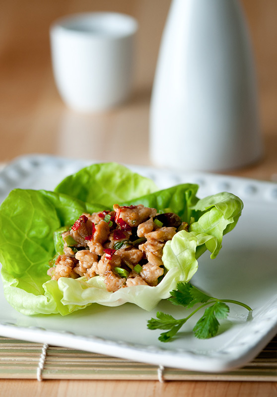 Chicken Lettuce Cup Food Stock Photo