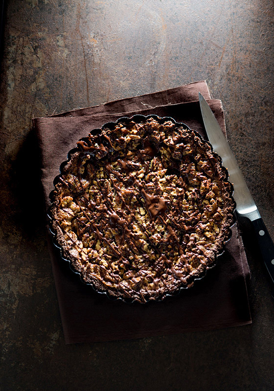 Chocolate Pecan Pie Food Stock Photo
