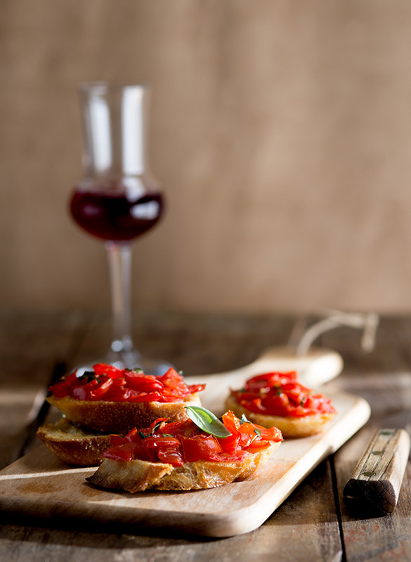 Tomato Basil Bruschetta Food Stock Photo