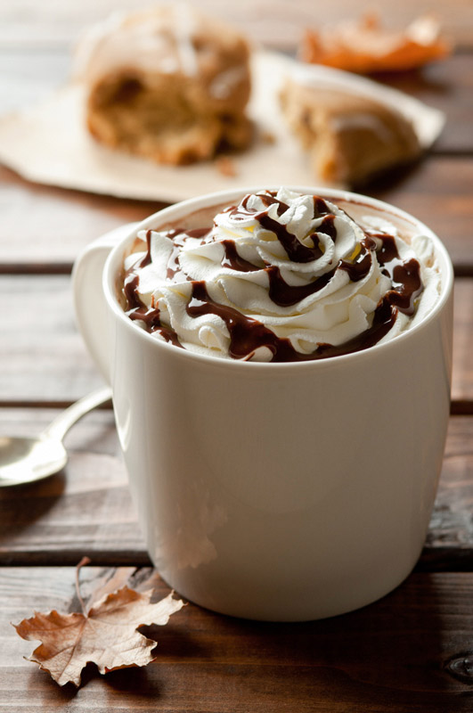 Hot Chocolate with Whipped Cream and Chocolate Sauce Drink Stock Photo