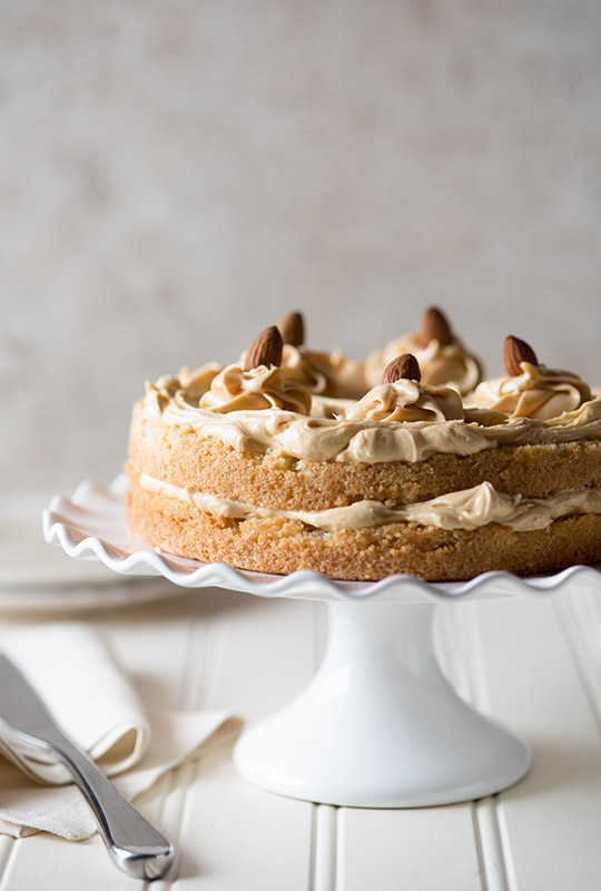 Caramel Almond Cake Food Stock Photo