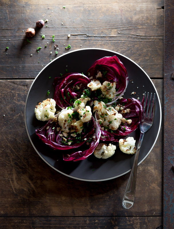 Roasted Cauliflower and Radicchio Salad with Toasted Hazelnuts Food Stock Photo