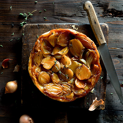 Shallot Tarte Tatin Stock Food Photo