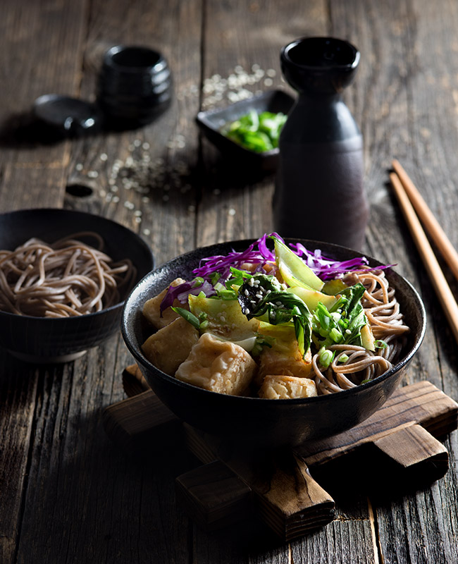 Tofu with Soba Noodles and Vegetables Stock Food Photo