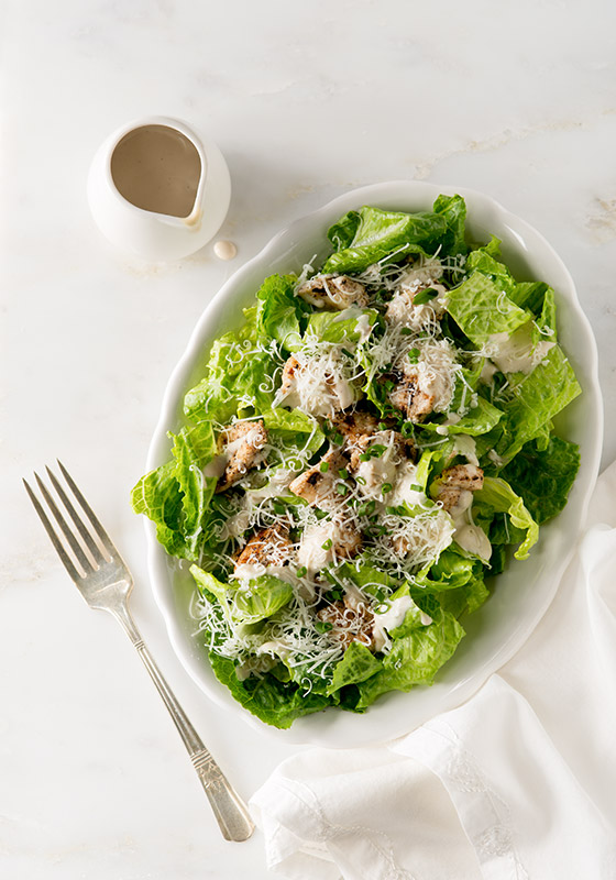 Grilled Chicken Caesar Salad Stock Food Photo