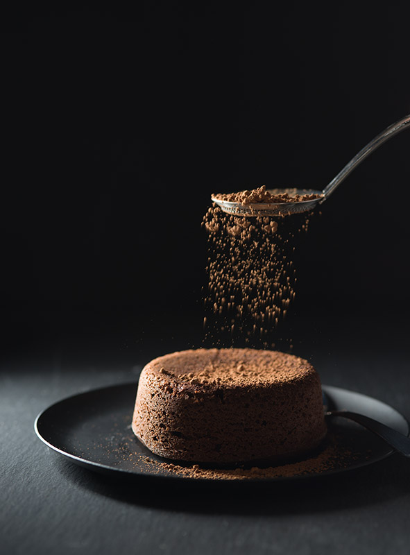 Mini Chocolate Cake with Cocoa Powder Stock Food Photo