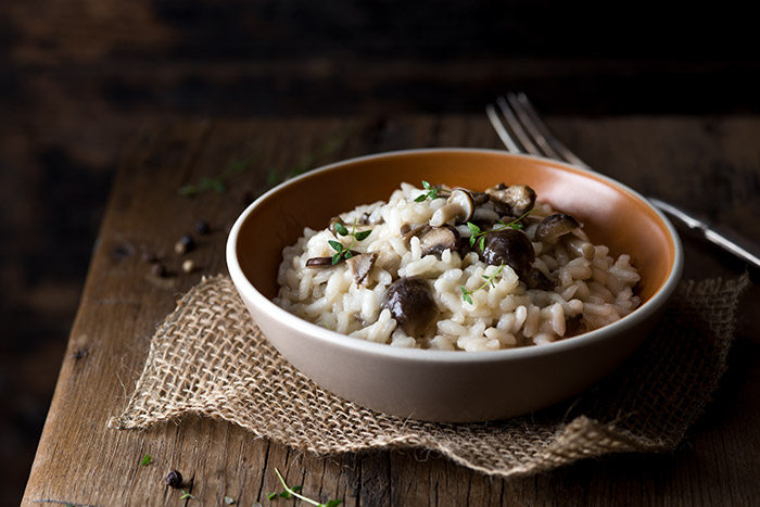 Mushroom Risotto with Fresh Thyme Stock Food Photo