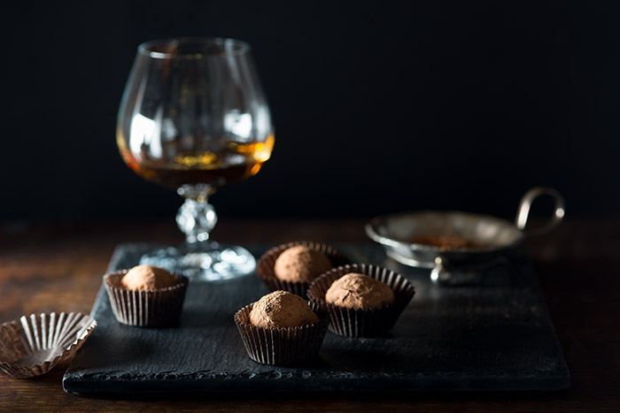 Chocolate Truffles with Grand Marnier Stock Food Photo