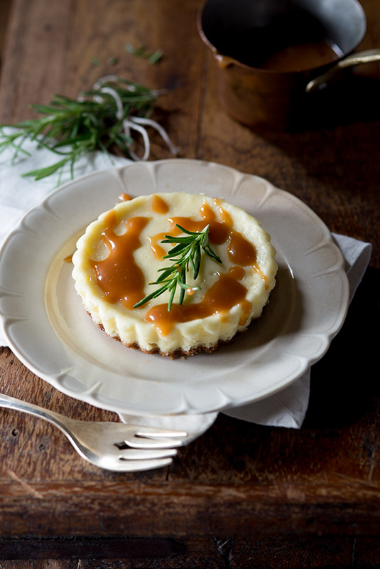 Cheesecake with Rosemary Caramel Sauce Stock Food Photo