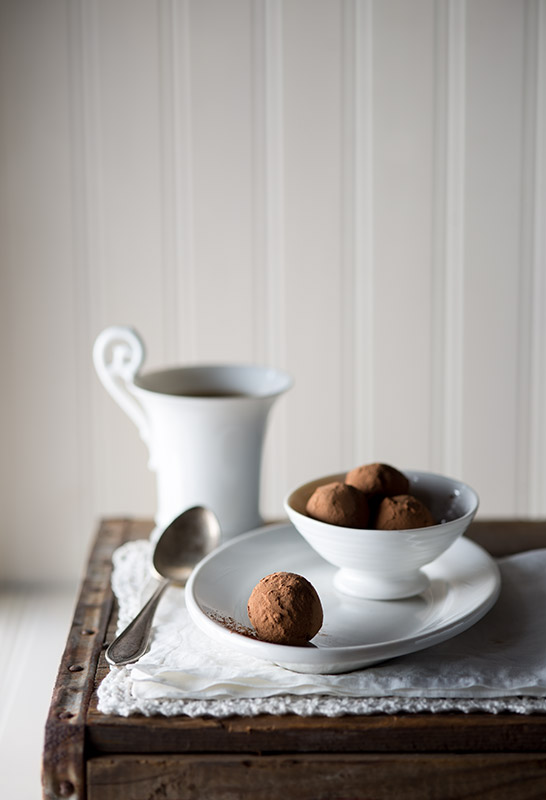 Chocolate Truffles Rolled in Cocoa Powder Stock Food Photo
