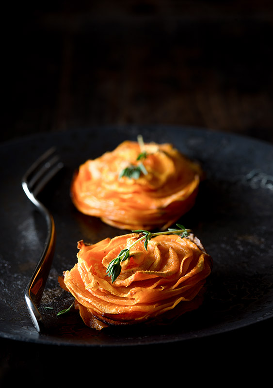 Baked Sweet Potato Stack with Thyme Stock Food Photo