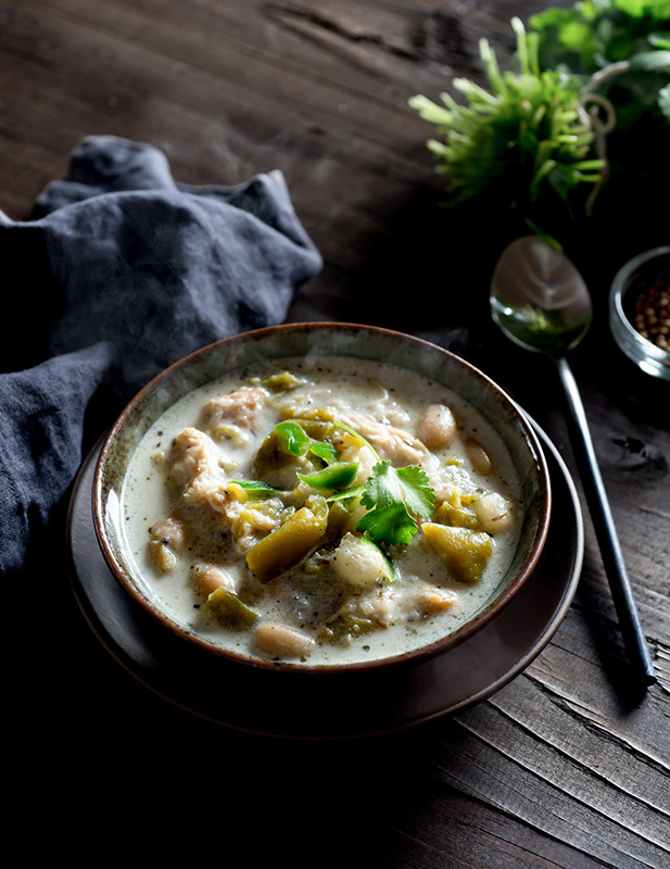 Slow Cooker White Chicken Chili Stock Food Photo