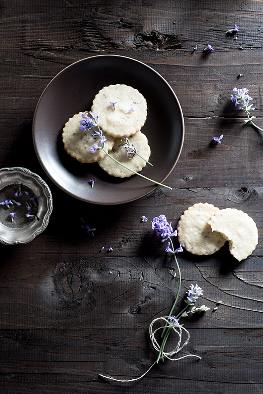 Lavender Shortbread Cookies Stock Food Photo