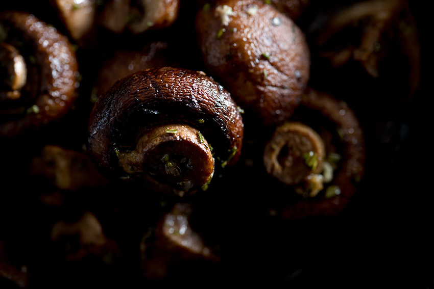 Roasted Crimini Mushrooms Stock Food Photo