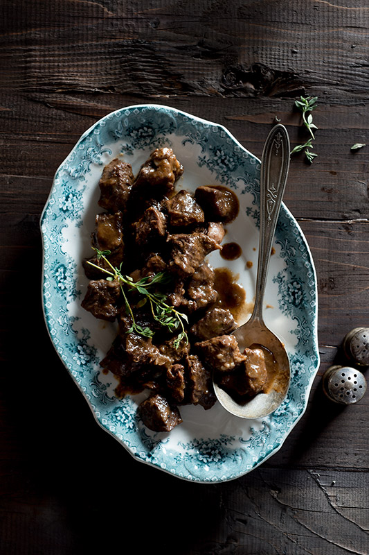 Beef Stew with Thyme Food Stock Photo