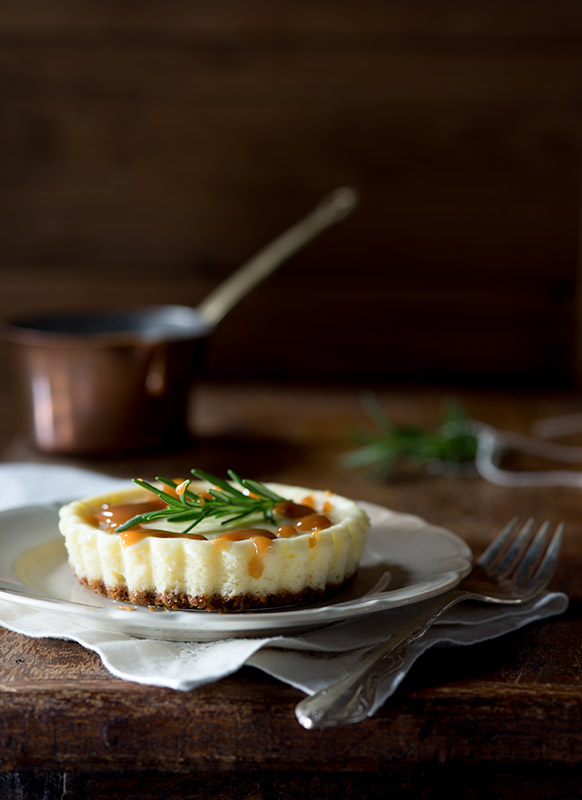 Cheesecake Tart with Rosemary Caramel Stock Food Photo