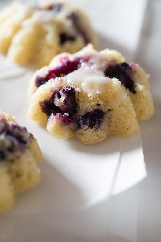 Glazed Blueberry Lemon Mini Muffins Stock Food Photo