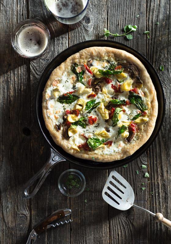 Rustic Pizza Garlic Parmesan Oregano Spinach Sun-Dried Tomato Stock Food Photo