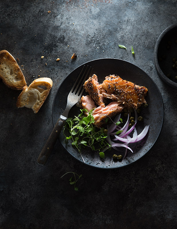 Smoked Salmon with Capers and Onion Stock Food Photo