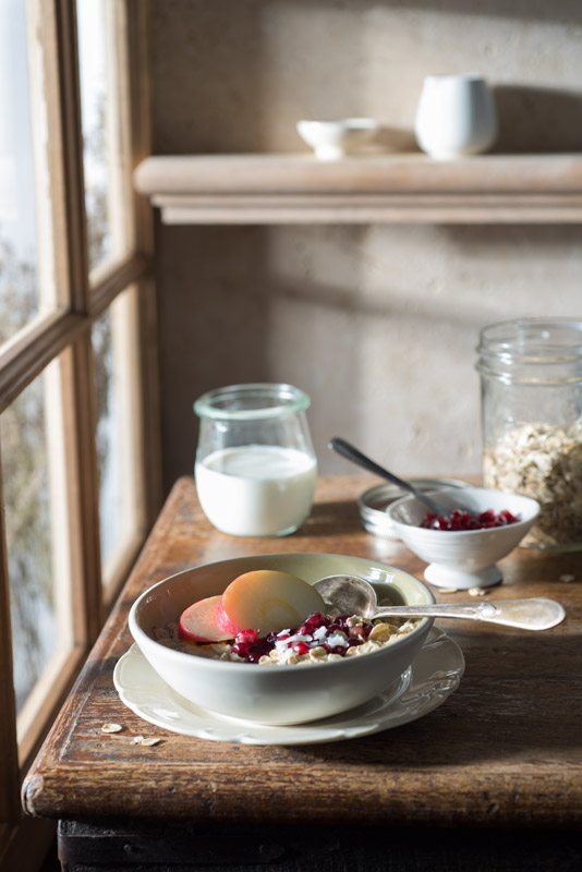 Muesli Breakfast on a Farmhouse Table Stock Food Photo