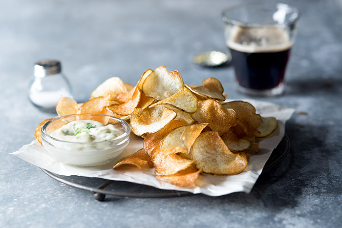 Potato Chips with Dip Food Stock Photo