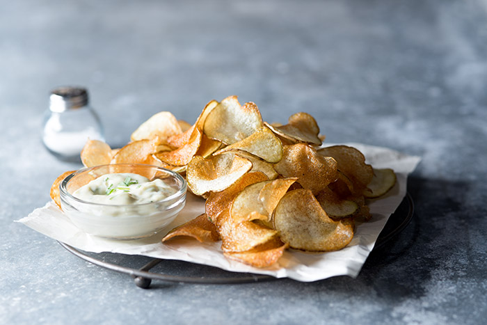 Chips with Dip Food Stock Photo