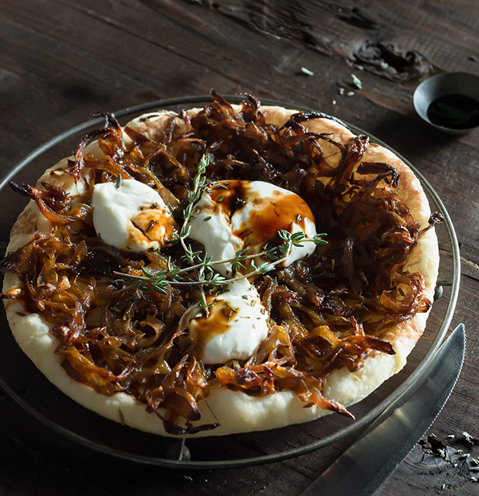 Caramelized Onion Tart Stock Food Photo