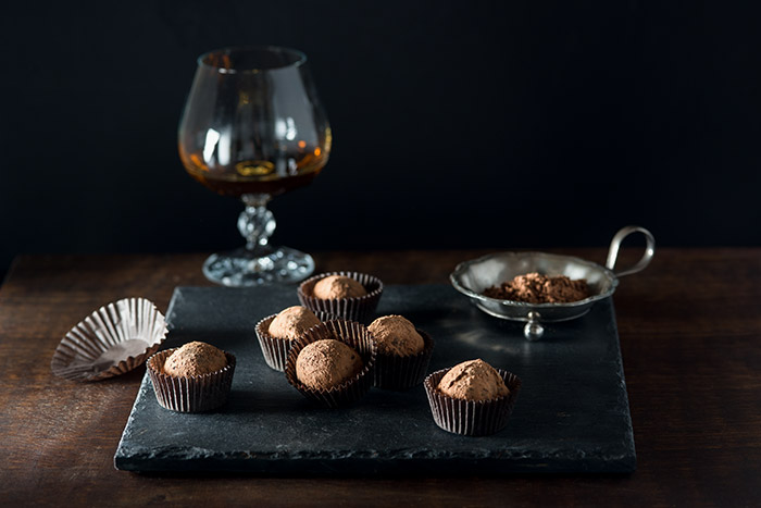 Grand Marnier Chocolate Truffles Stock Food Photo