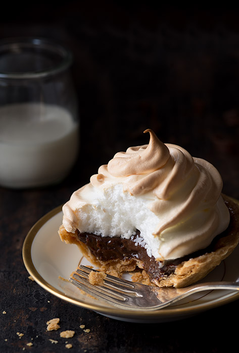 Chocolate Meringue Mini Tart Food Stock Photo