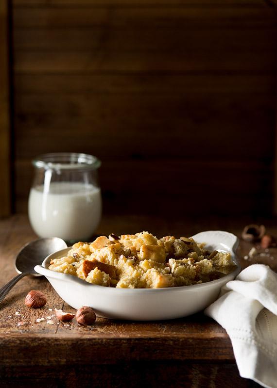Hazelnut Bread Pudding Food Stock Photo