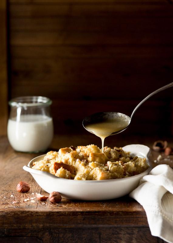 Hazelnut Bread Pudding with Cream Sauce Stock Food Photo