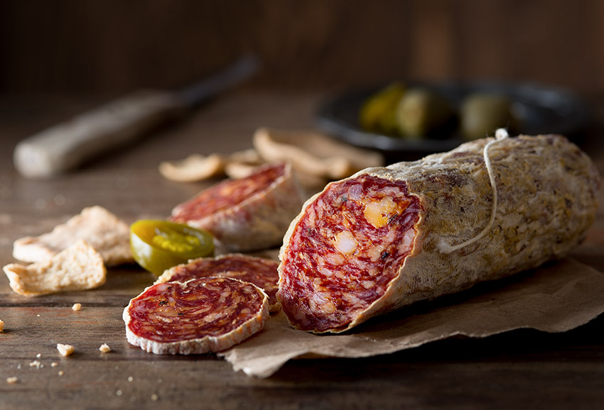 Salami with Crackers Stock Food Photo