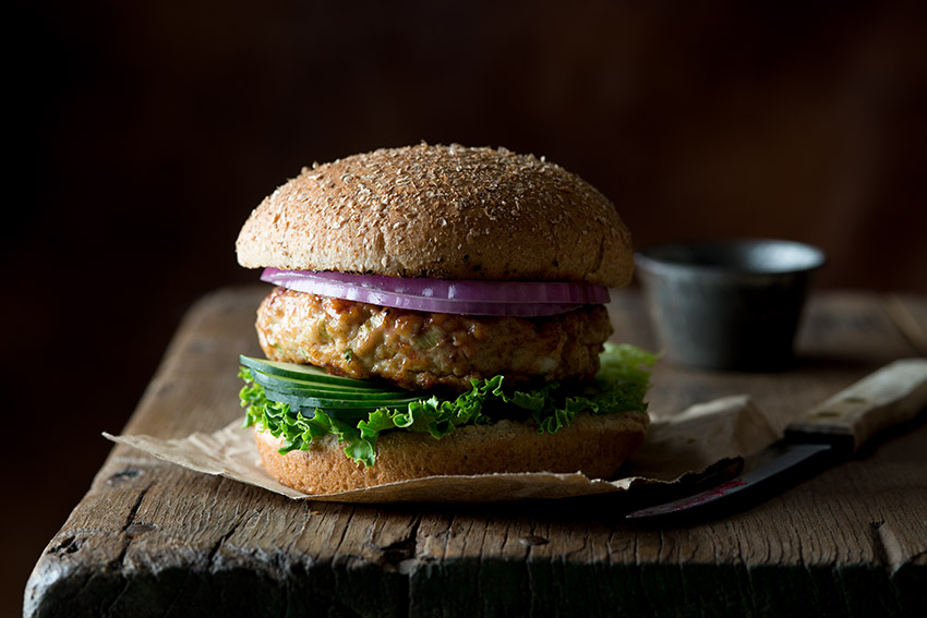 Rustic Chicken Burger Stock Food Photo