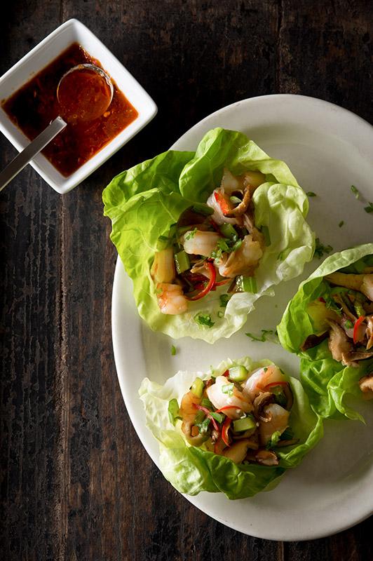 Shrimp Lettuce Cups Stock Food Photo