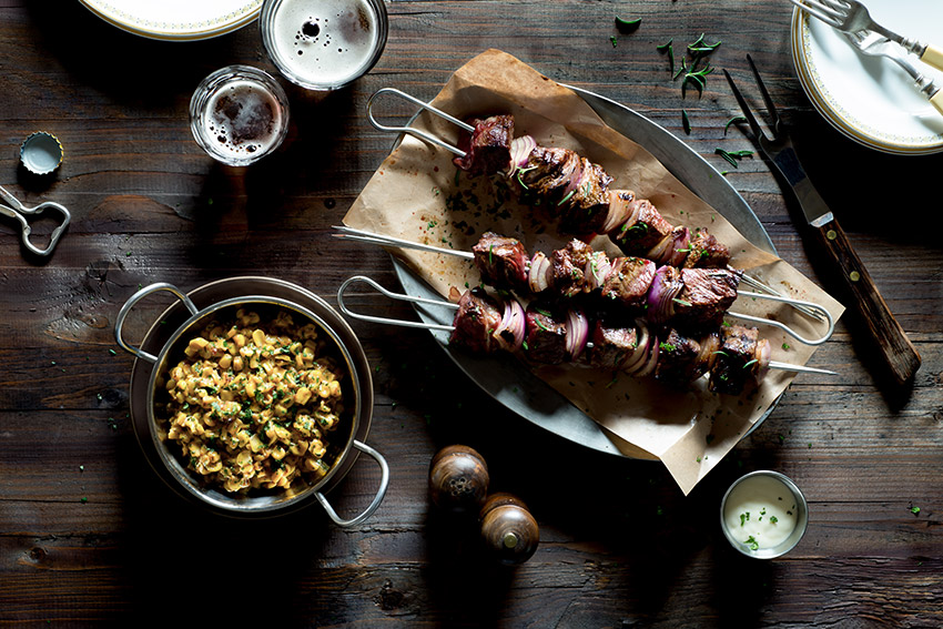 Grilled Beef Kebabs with Corn Salad Food Stock Photo