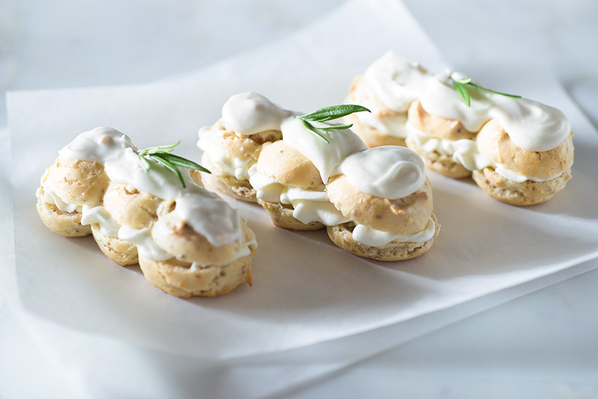 Rosemary Walnut Eclairs Stock Food Photo