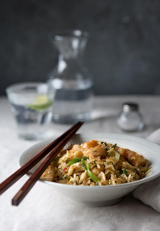 Shrimp Coconut Fried Rice Stock Food Photo