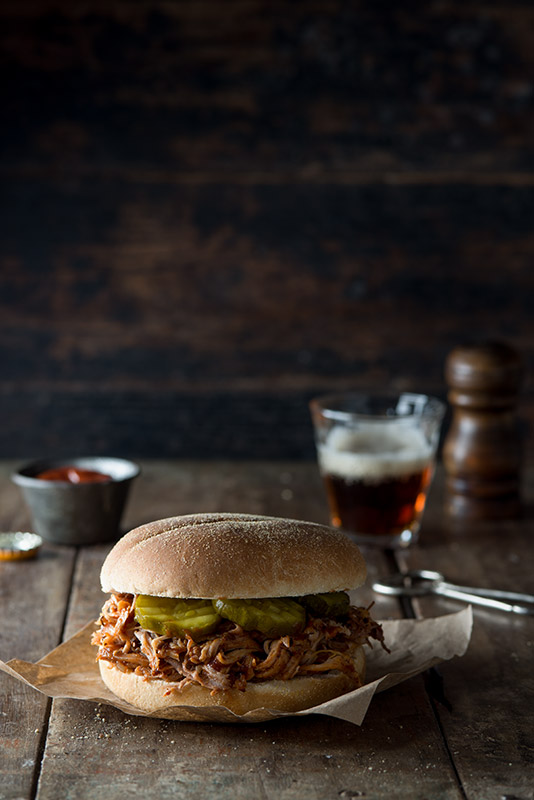 Pulled Chicken Sandwich with Beer Stock Food Photo