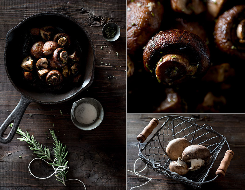 Roasted Rosemary Garlic Mushrooms with Truffle Salt Stock Food Photo