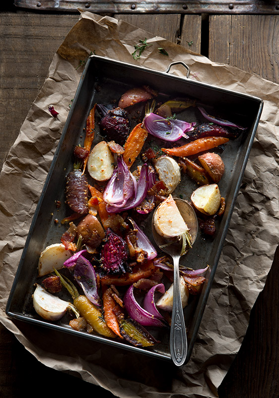 Roasted Root Vegetables Stock Food Photo