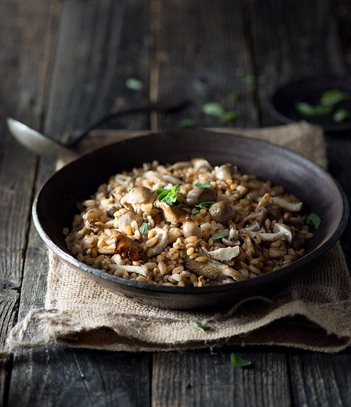 Farro with Mushrooms and Marjoram Stock Food Photo