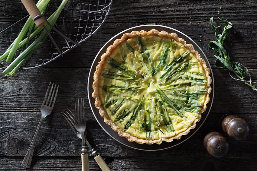 Green Onion Quiche Stock Food Photo