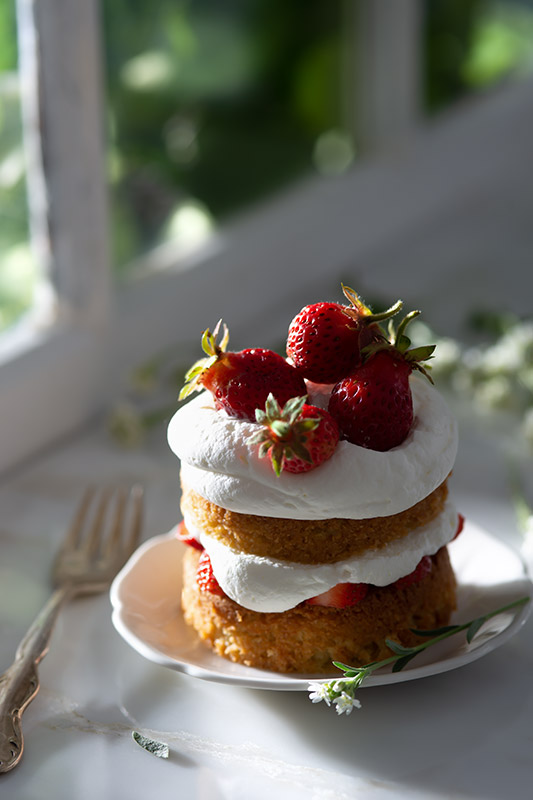 Mini Strawberry Shortcake Layer Cake Stock Food Photo