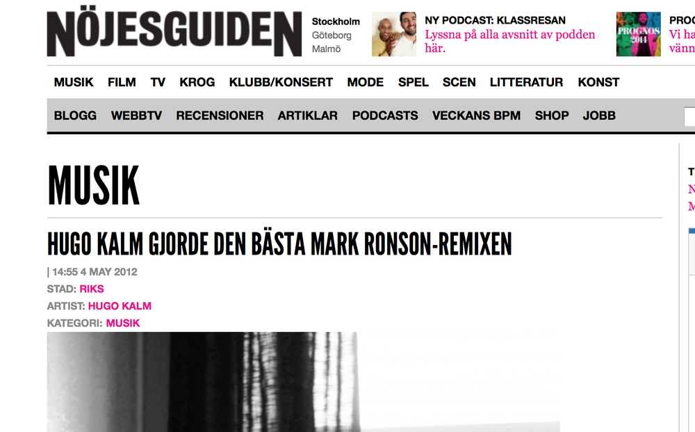 "Article in swedish magazine ""Nöjesguiden"""