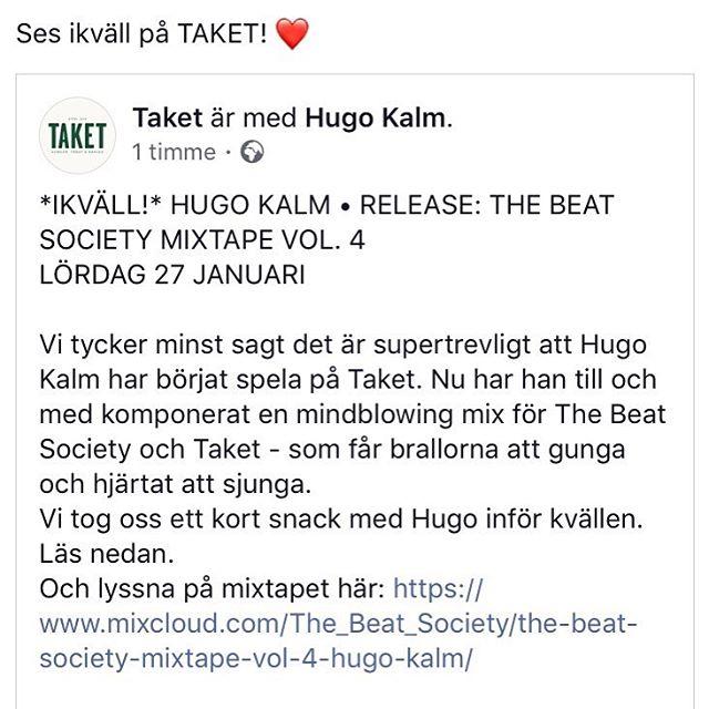 @TaketBar ikväll 💙 ladda upp med mitt nya mixtape (länk i bio). Hör och häpna, ingen house 😏 Jag spelar 21-01, ses där! #thebeatsociety